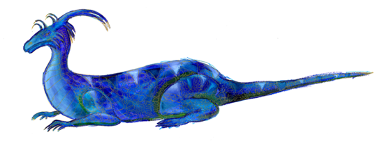image of a blue dragon reclining, facing left